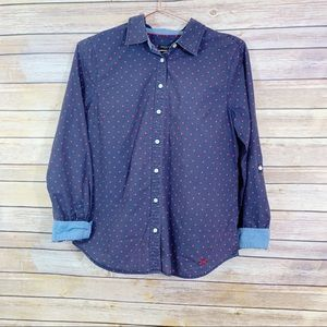 Talbots Red Polka Dot Blue Button Front Blouse